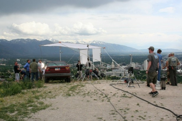 Crew filming on Salt Lake City's East Bench